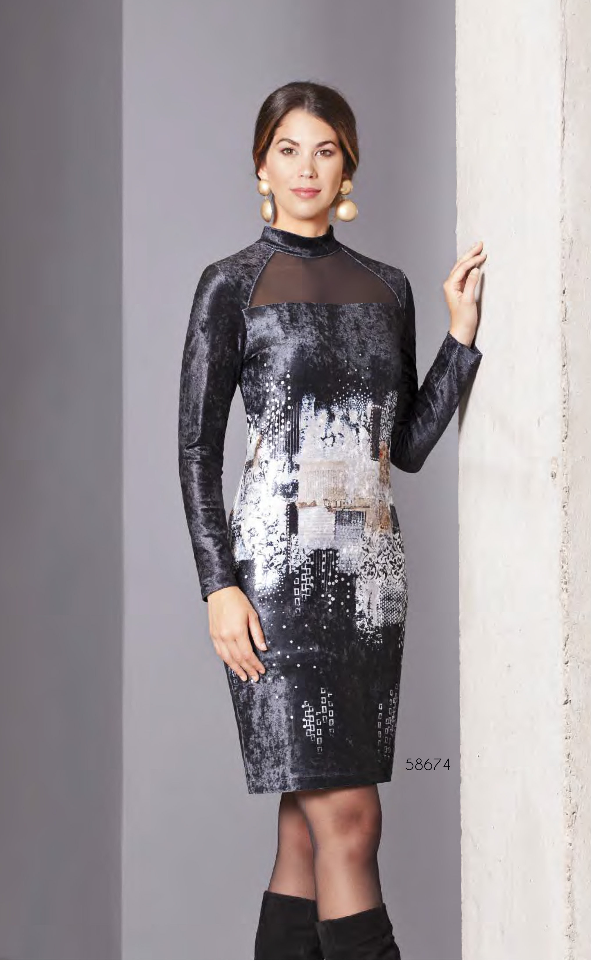 Simply Art Dolcezza: Explosion of Crystals Abstract Art Velvet Dress (1 Left!) DOLCEZZA_SIMPLYART_58674_N3