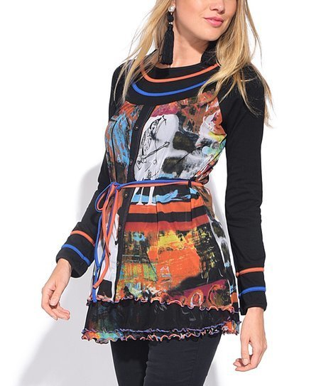 S'Quise Paris: Autumn Leaves Abstract Art Crinkled Tunic SQ_6504_N1