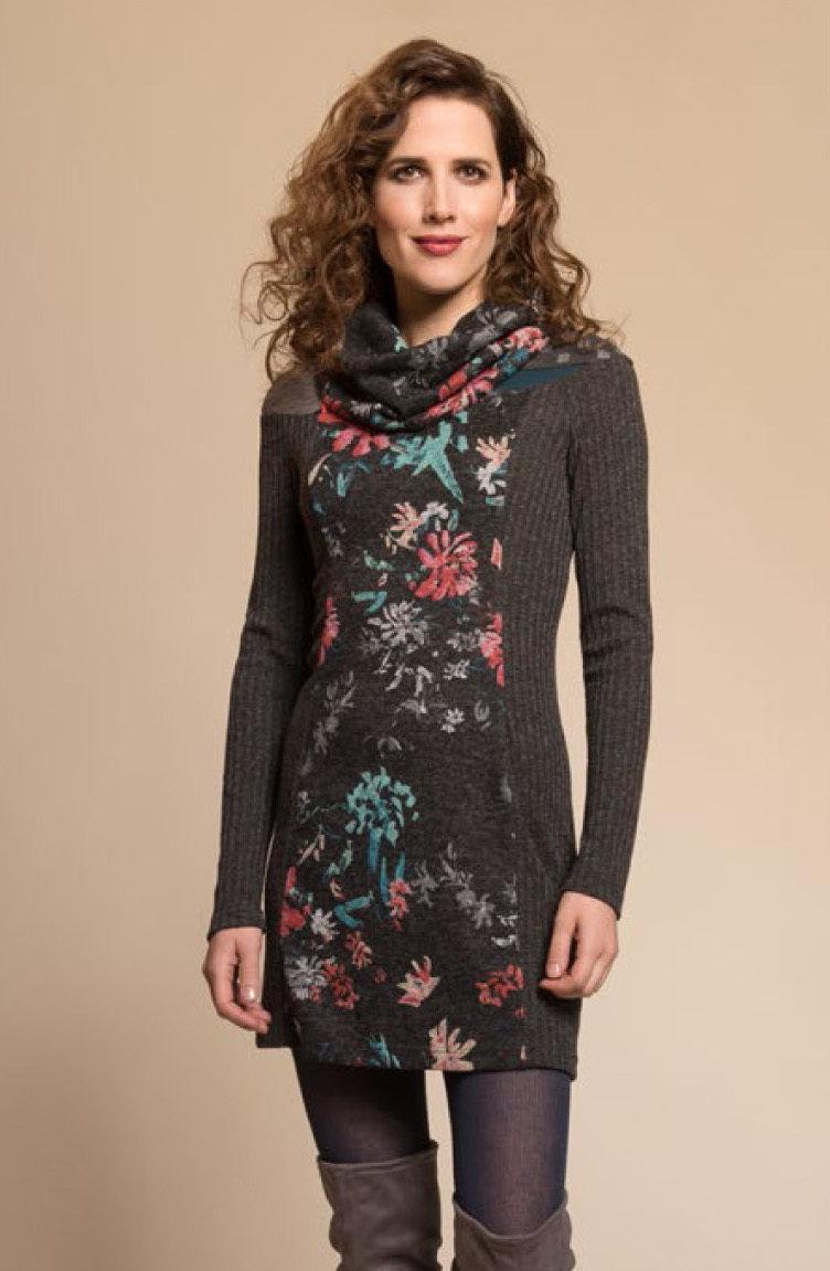 Myco Anna: Pink Jade Eco-Wear Asymmetrical Patchwork Sweater Dress MA_DIVERSITE_C1_N1