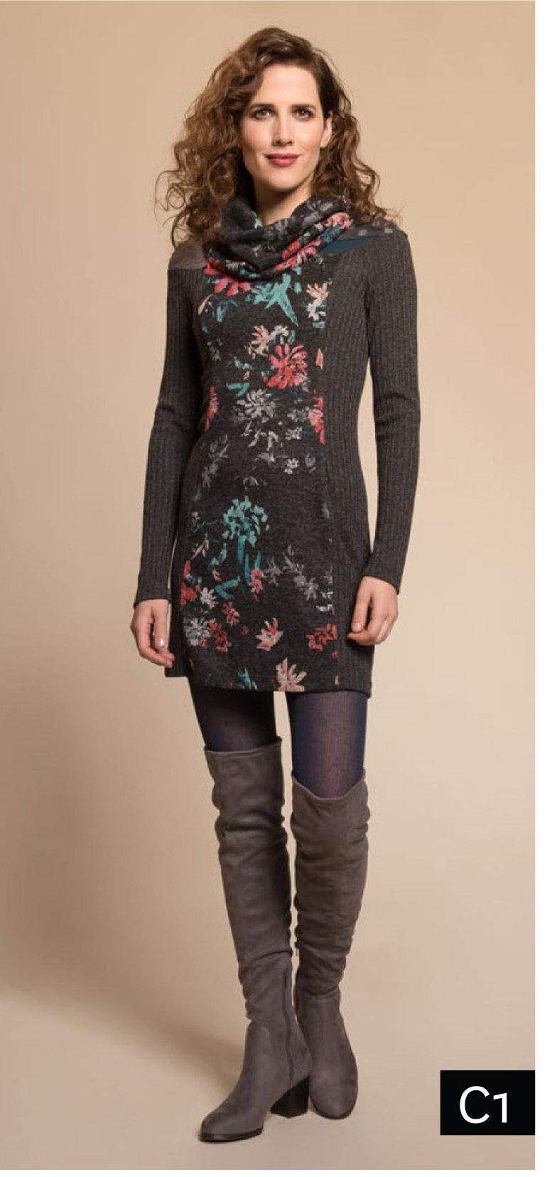 Myco Anna: Pink Jade Eco-Wear Asymmetrical Patchwork Sweater Dress