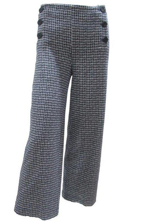 Maloka: Midnight Blue Jacquard Wide Leg Pant MK_PEI