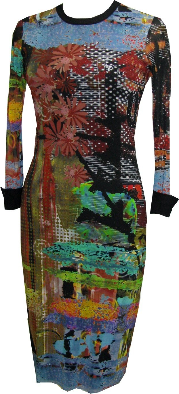 Petit Pois: After Dark Japanese Garden Abstract Art Midi Crew Neck Dress SOLD OUT PP_AD111114_N1