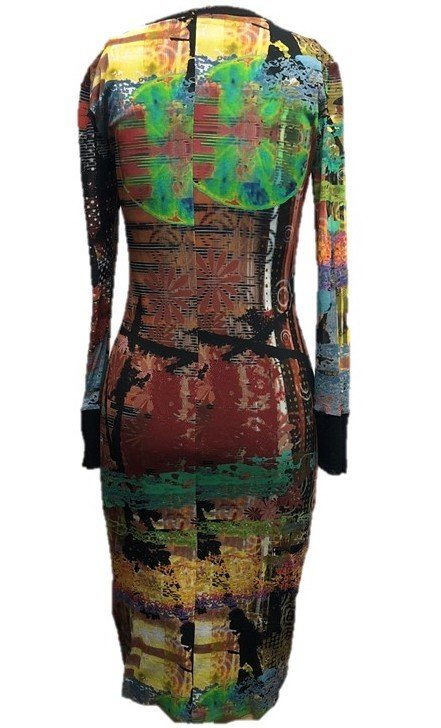 Petit Pois: After Dark Japanese Garden Abstract Art Midi Crew Neck Dress SOLD OUT