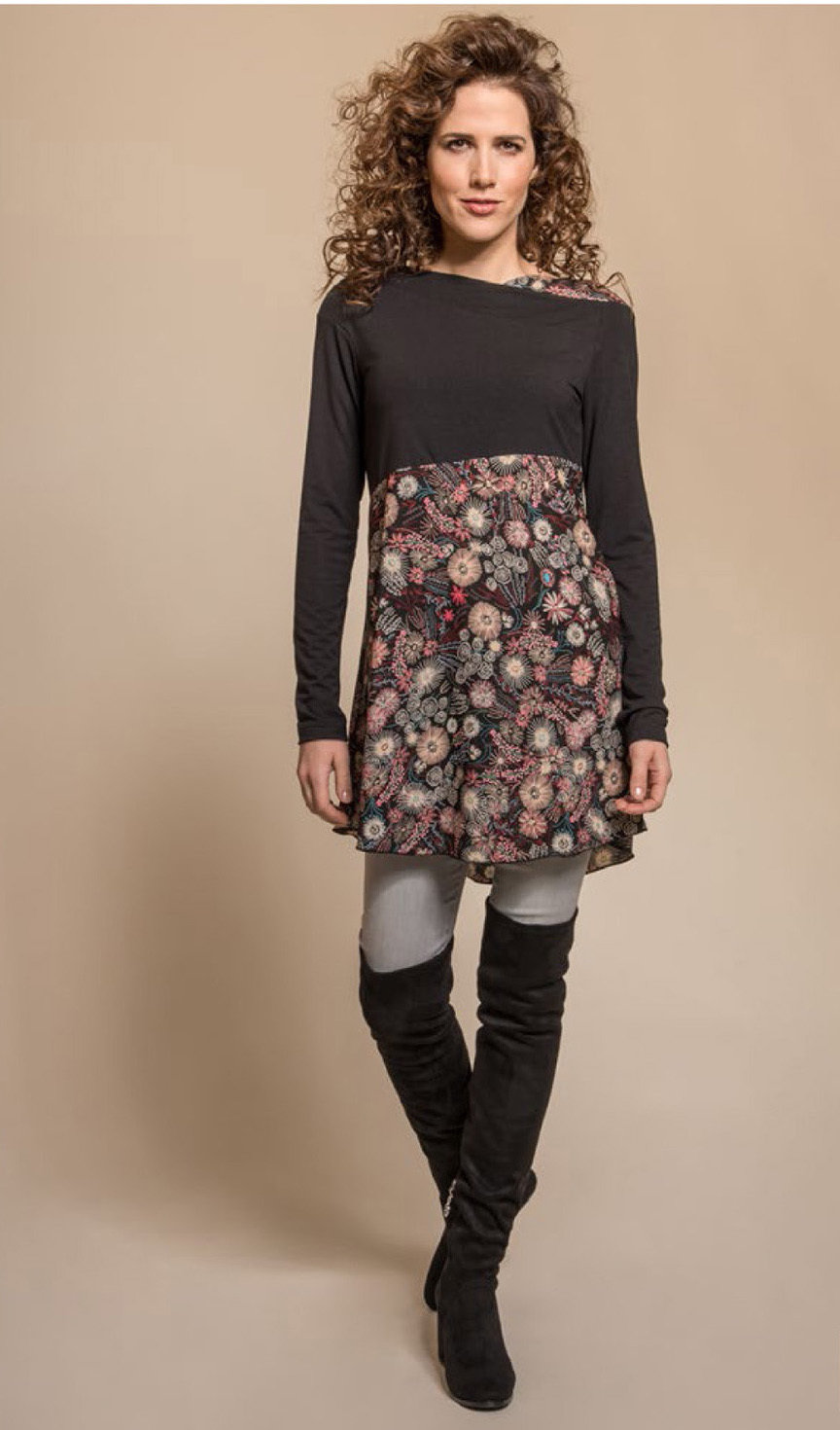 Myco Anna: Asymmetrical Decolletage High Waist Pink Jade Tunic MA_TURNER_C1_N1