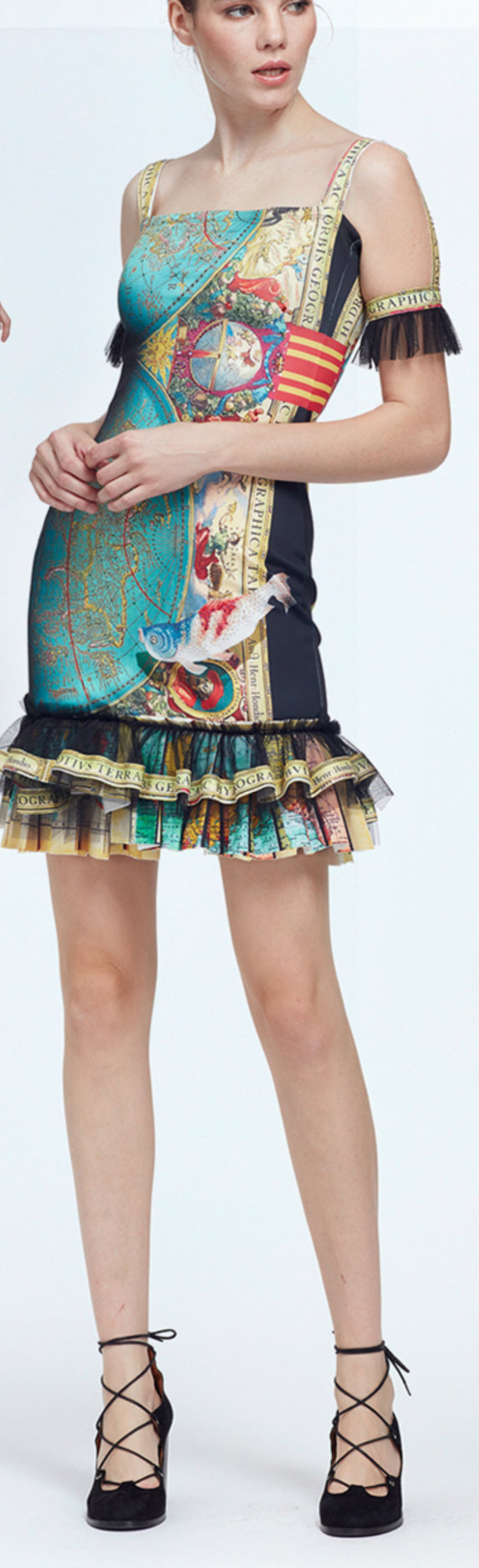 IPNG: The World At Your Paper Boat Trip Ruffled Map Illusion Midi Dress (Some Ship Immed!)