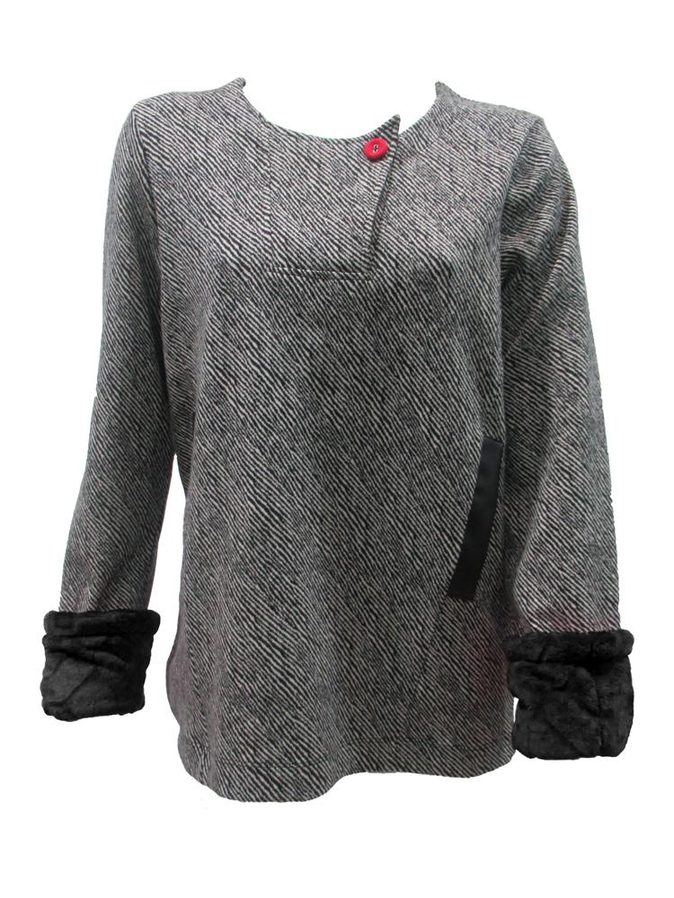 Maloka: Pink Candy Cotton Jacquard Faux Fur Cuffed Sweater/Jacket (3 Left!)