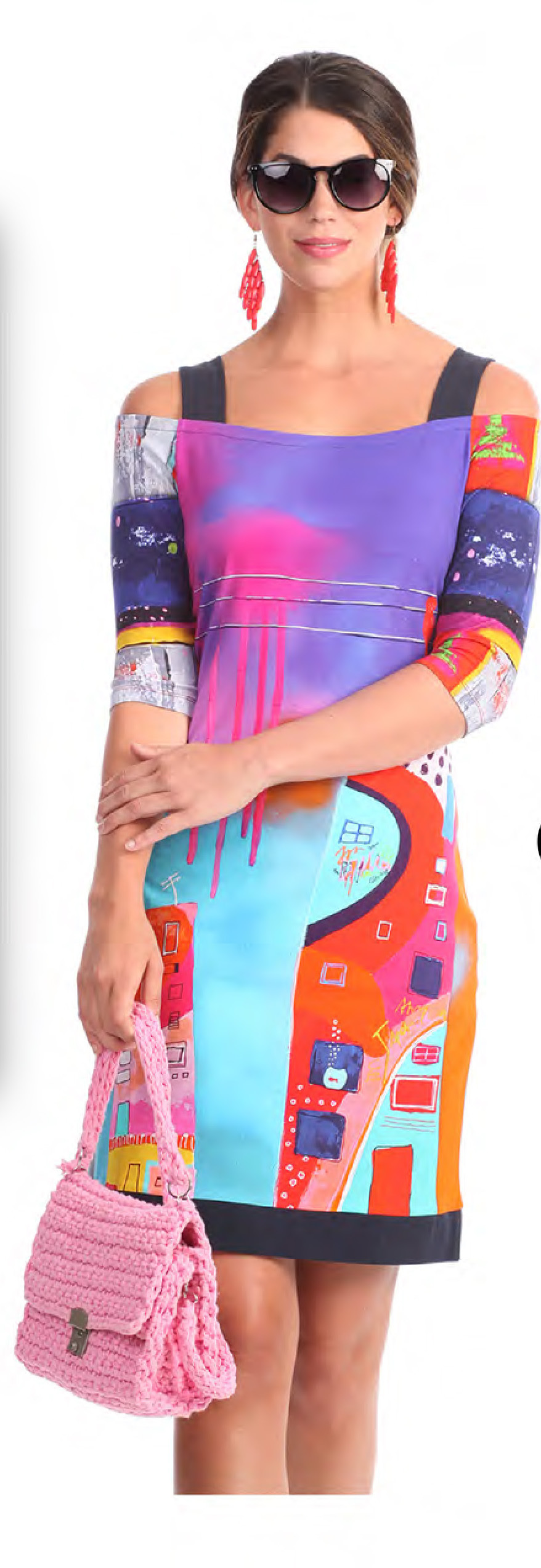 Simply Art Dolcezza: Fuschia Paint Spill Cold Shoulder Midi Dress/Tunic SOLD OUT DOLCEZZA_SA_19633_N2