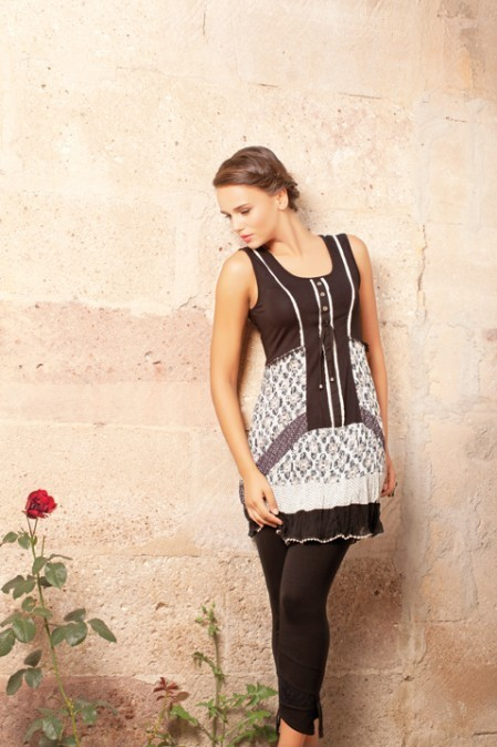 Dolcezza Crinkle Laced Tunic (Only Beige/Pink 1 Left!) DOLCEZZA_13528