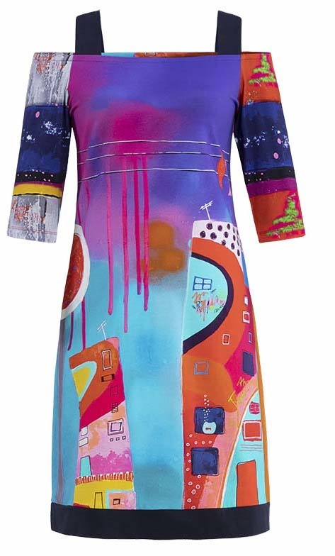 Simply Art Dolcezza: Fuschia Paint Spill Cold Shoulder Midi Dress/Tunic SOLD OUT