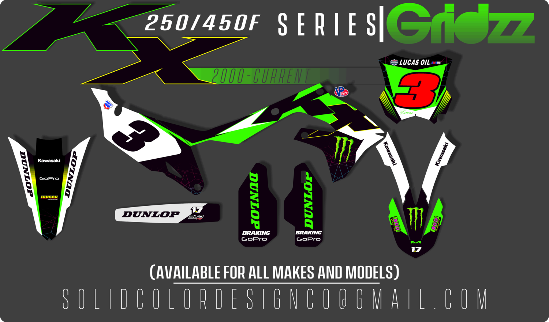 "2019 KX450f ""Gridzz"" Series  Graphics Kit"