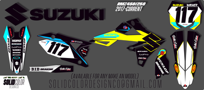 """2019 Suzuki RMZ 450/250 """"GP"""" Series  Graphics Kit"""
