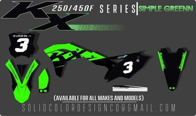 """2018 KX450/250f """"Simple Greenn"""" Graphics Kit"""