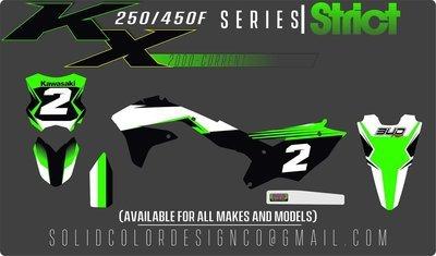 """2018 Kawasaki KX450/250f """"Strict"""" Series Graphics Kit"""