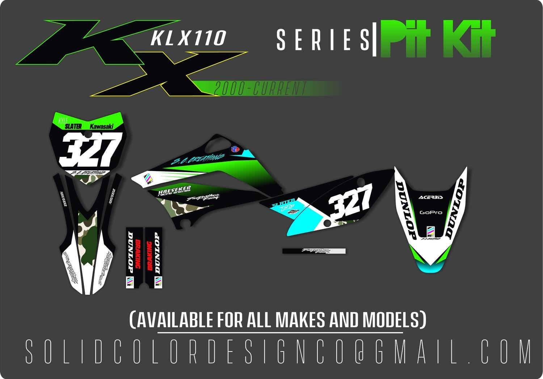 "2018 Kawasaki KLX110 ""Pit Kit"" Graphics Kit"
