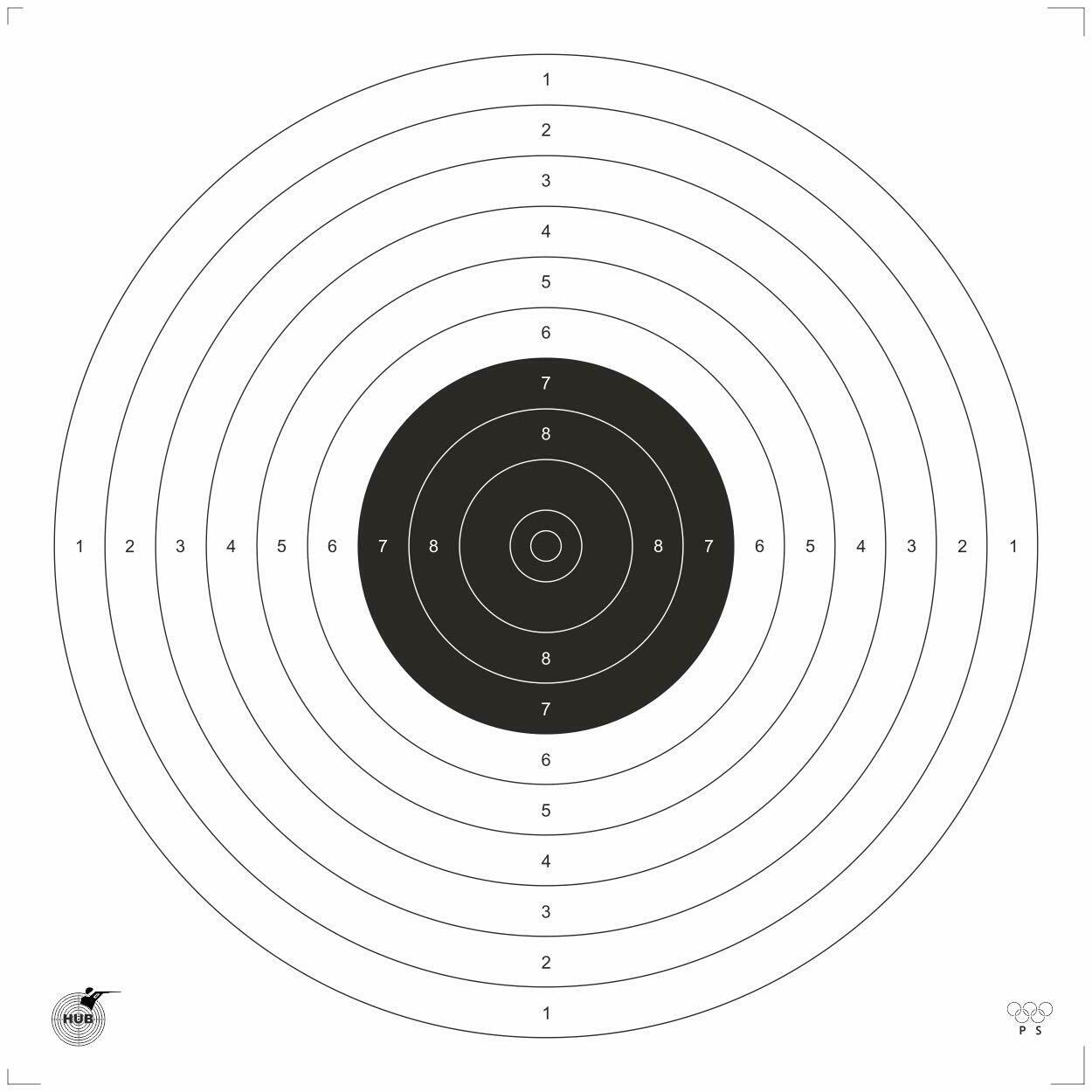 Hub HSEPL .177 4.5 mm Air Pistol Target Paper (Qty 1000 Set)