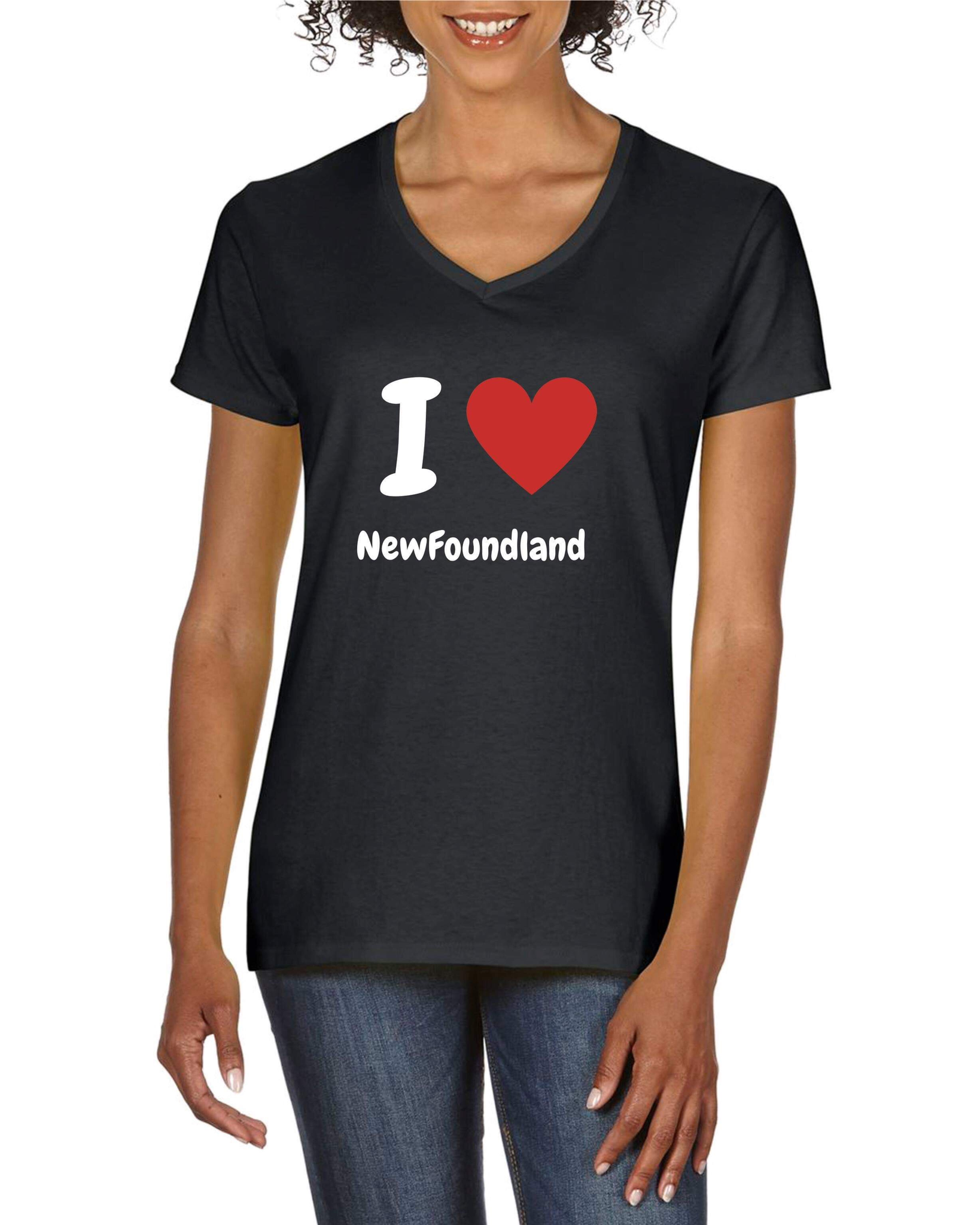 Női póló - V-nyakú - fekete - Újfoundlandi