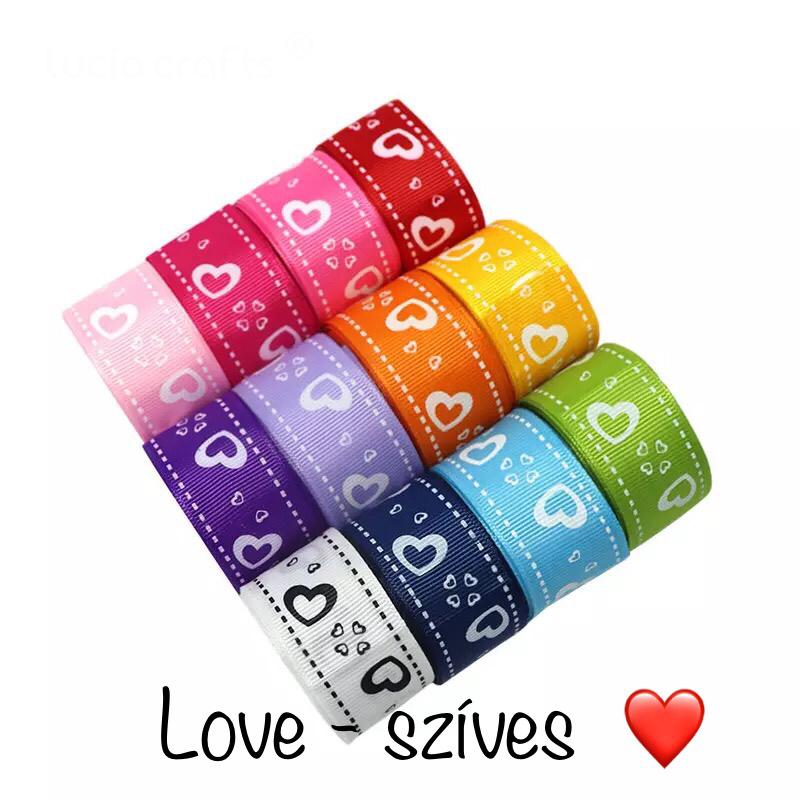 Love - szíves szalag szett - választható vegyesen 6 szín
