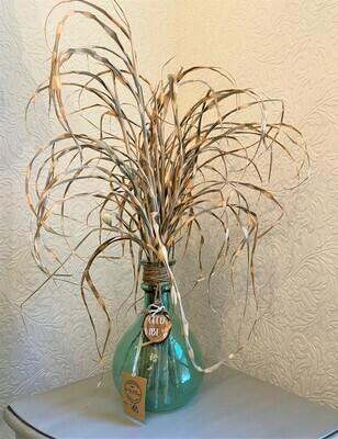 Vintage Glass Vase & Grass
