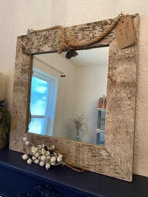 Handmade Square Birch Mirror
