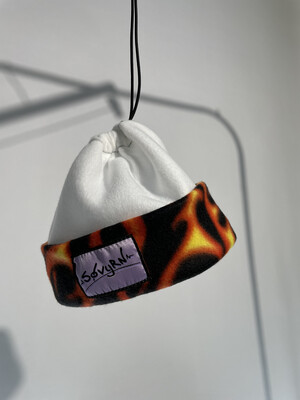 Sinch Top Beanie/Facemask White Flames