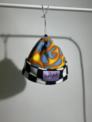 Sinch Top Beanie/Facemask Blue Checkered Flames