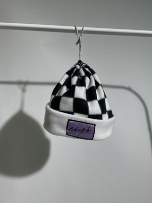 Sinch Top Beanie/Facemask White Checkers