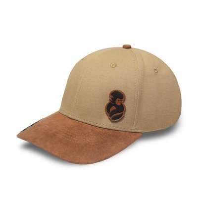 """""""SIENNA"""" Brown Suede & Canvas Strapback Hat"""