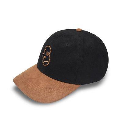 """SUAVE""  Black & Brown Suede Strapback Hat"