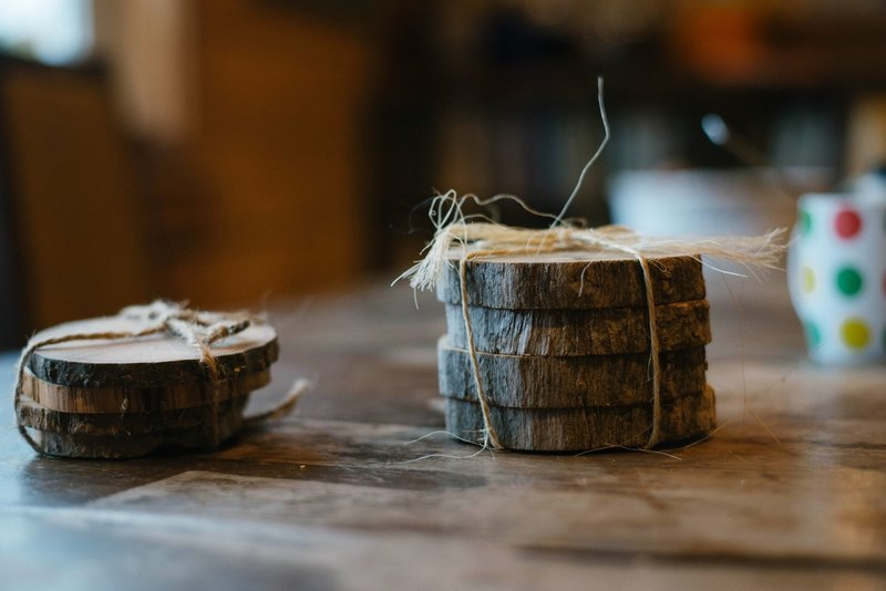 Hand Made Cedar Wood Coasters Set of 4