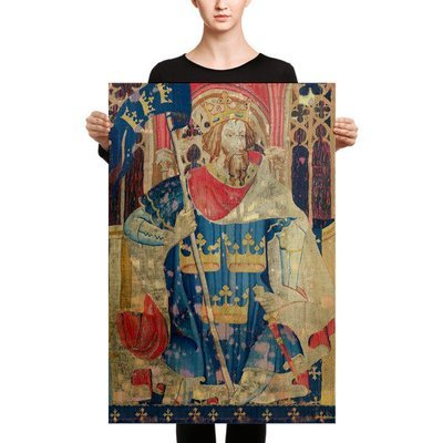 12th Century King Of Wands, Print On Canvas