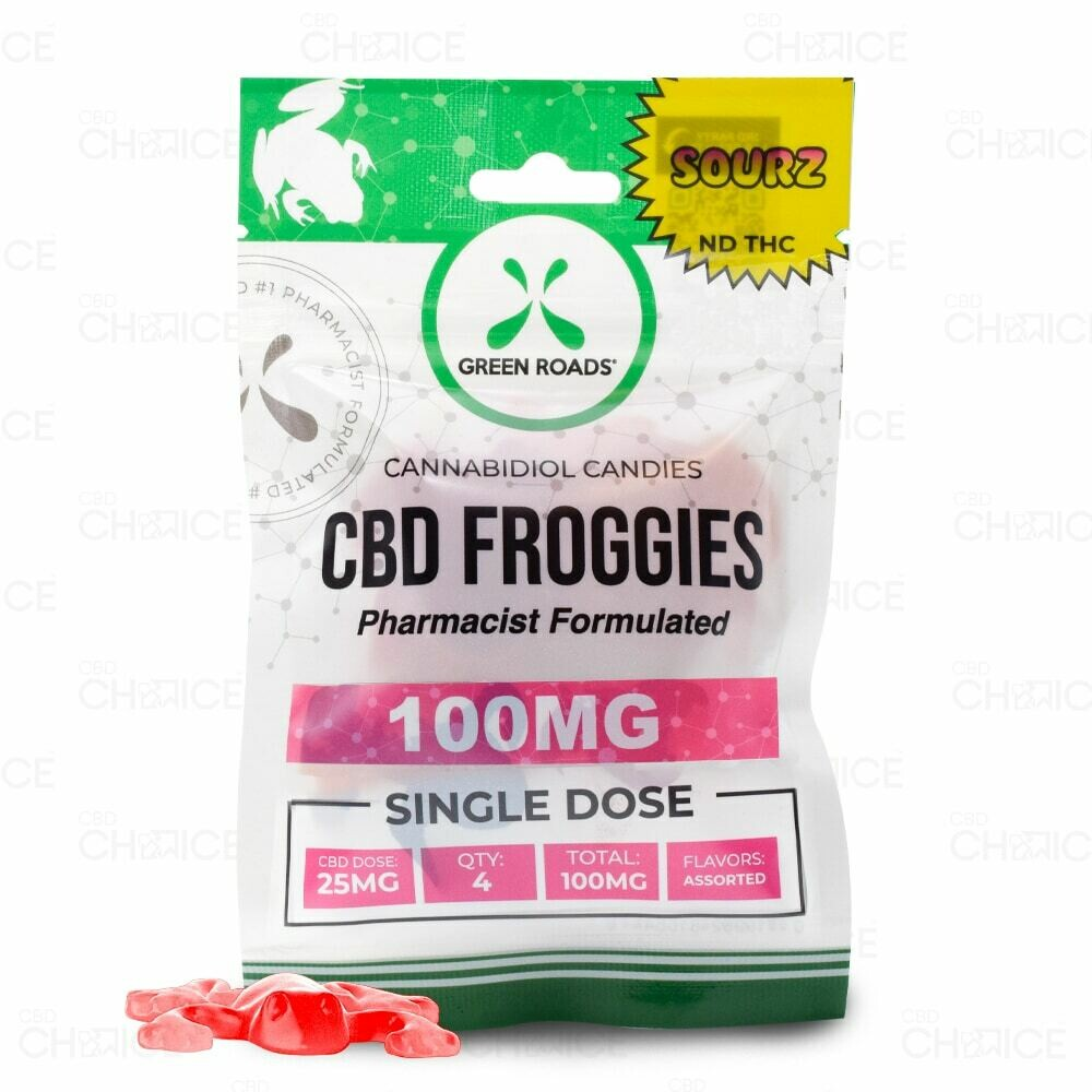 GREEN ROADS  Sour CBD Froggies 100mg Single Dose (4pack)