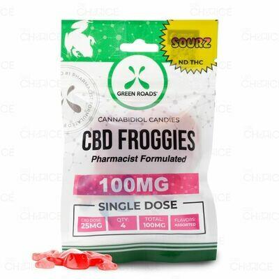 GREEN ROADS  Sour CBD Froggies 100mg Single Dose (4pack)