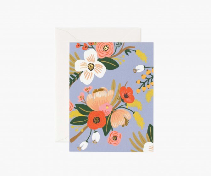 LIVELY FLORAL PERIWINKLE CARD