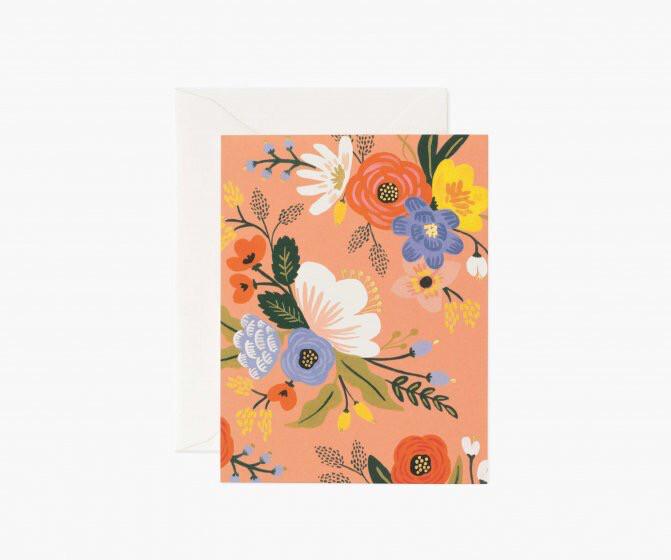 LIVELY FLORAL PINK CARD