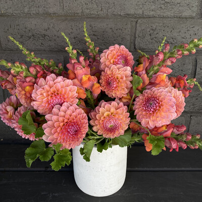 LOCAL DAHLIAS AND SNAPDRAGONS IN CLAY POT