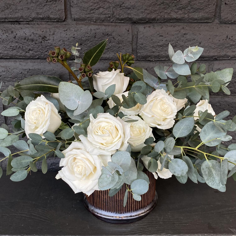 WHITE ROSES IN CERAMIC POT