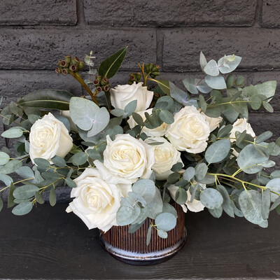 DOZEN WHITE ROSES IN CERAMIC POT