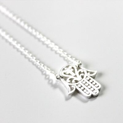 Sterling Silver Hamsa Protection Necklace