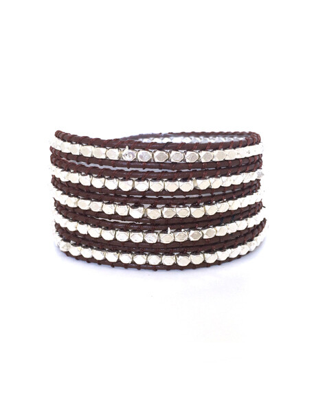 Dark Brown & Silver Wrap Bracelet