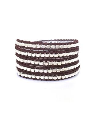 Dark Brown & Silver Wrap Bracelet