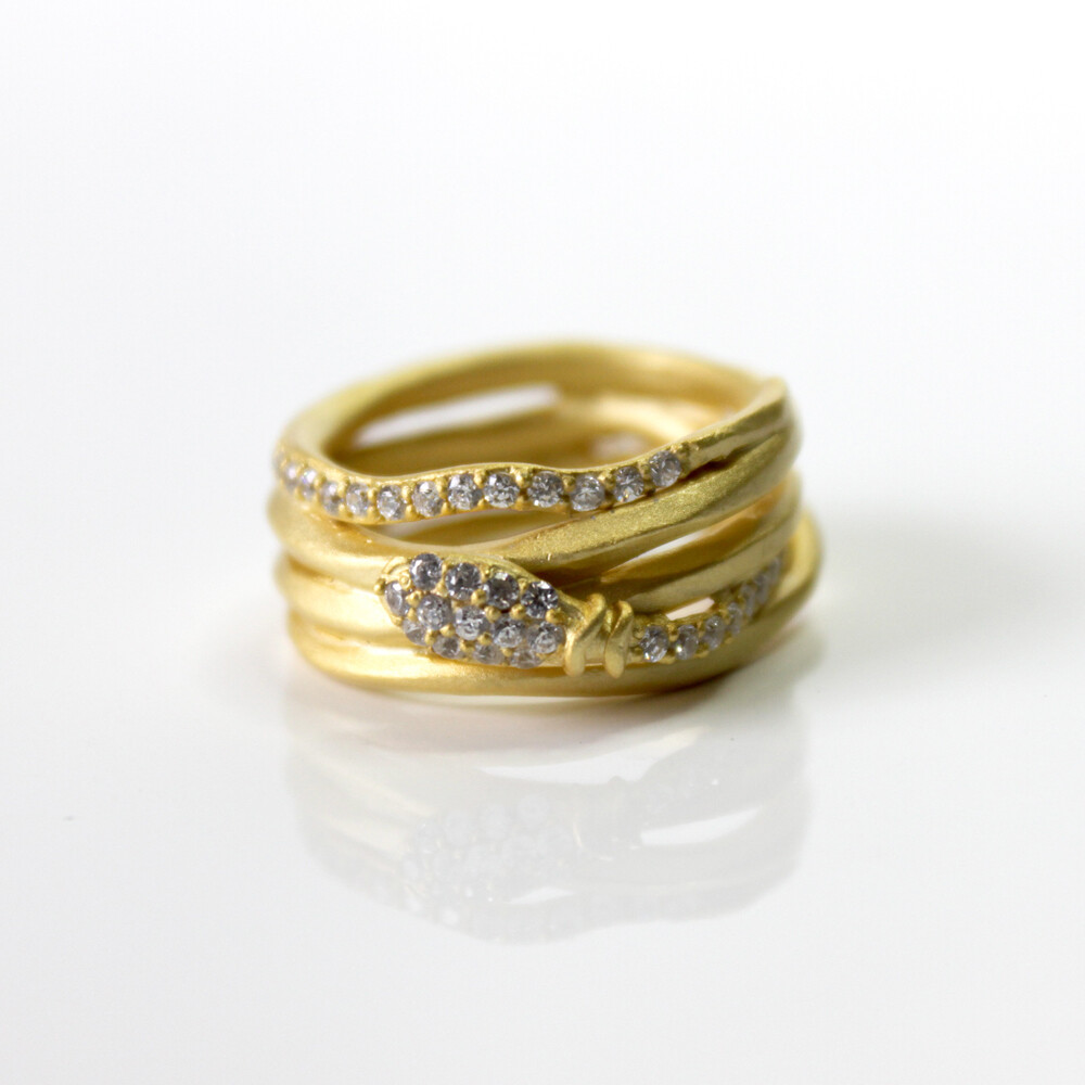 Vermeil Serpent Coil Ring Size 8