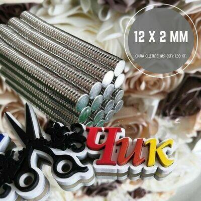 Неодимовый магнит 12х2 мм (набор 10 шт)