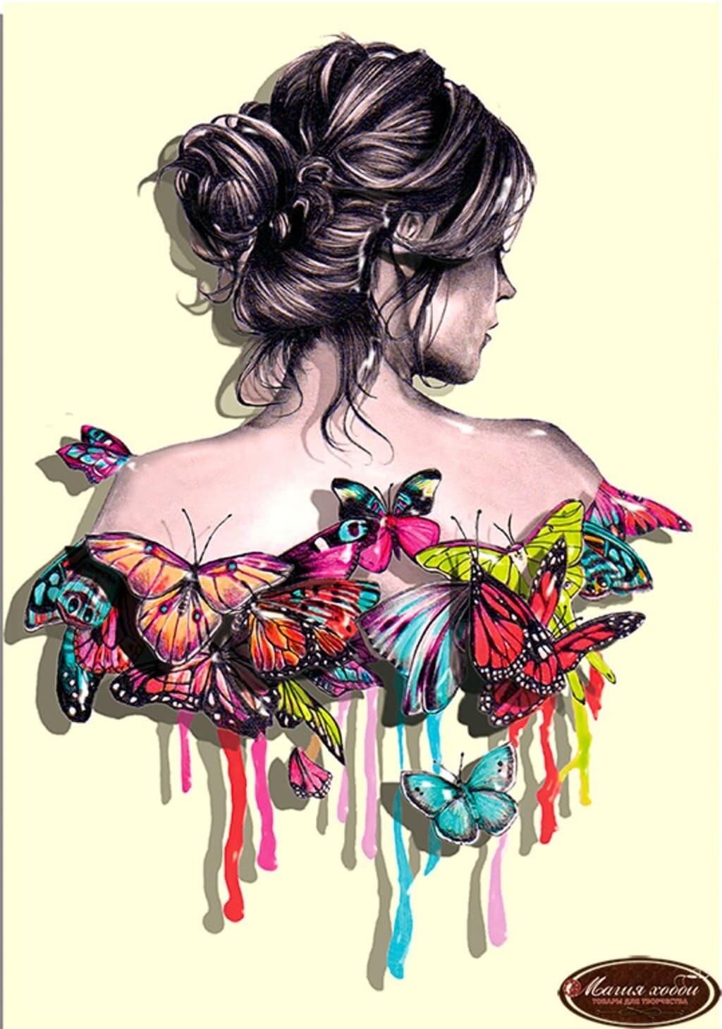 """Папертоль РТ150007 """"Девушка в бабочках""""  19*23см."""