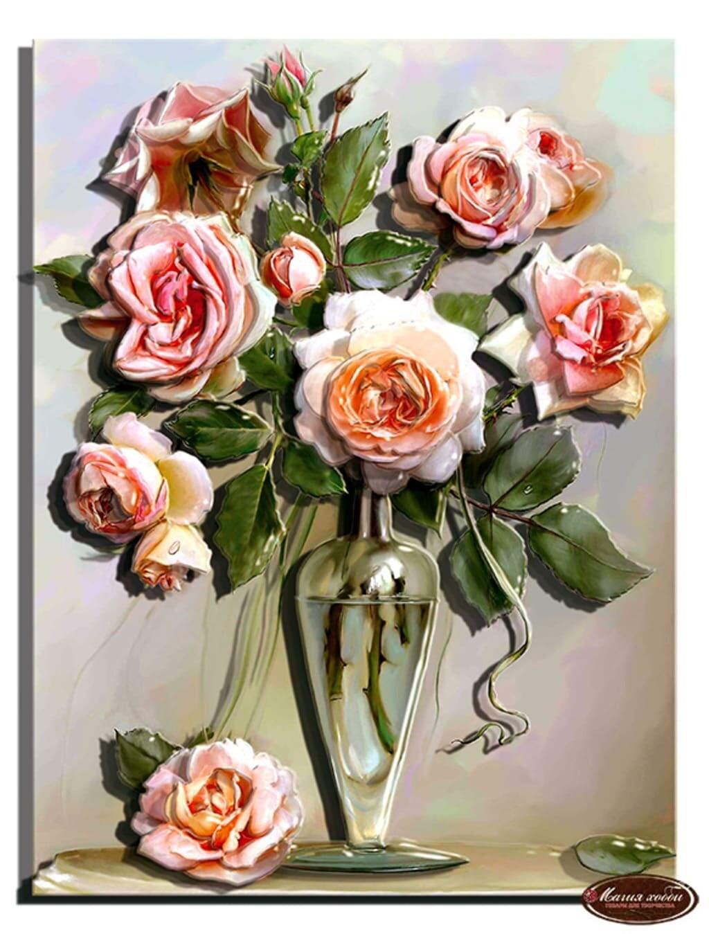 """Папертоль РТ150152 """"Букет роз в вазе"""" 20*26см."""