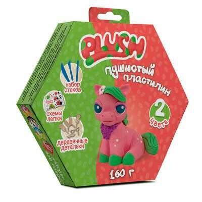 """Пушистый пластилин """"PLUSH"""" набор для лепки розовый + зеленый 160 г"""