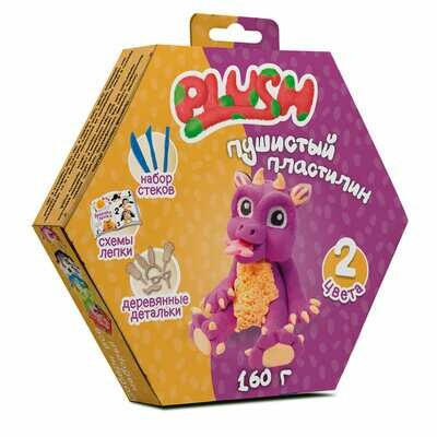 """Пушистый пластилин """"PLUSH"""" набор для лепки фиолетовый + оранжевый 160 г"""