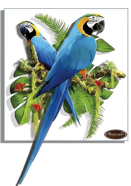 """Папертоль РТ150310 """"Синие попугаи"""" 20*21см."""
