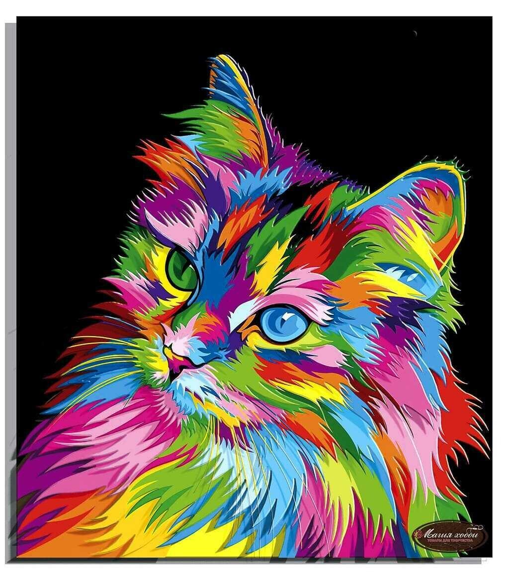 """Папертоль РТ150305 """"Радужный кот""""  29*33см."""