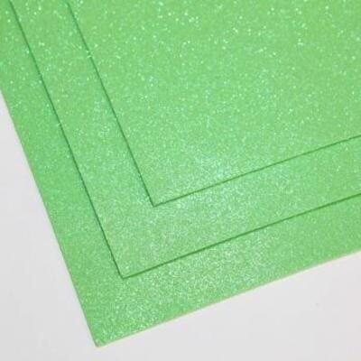 Фоамиран глиттерный 60х70 см толщина 1,5 мм МЕРЦАЮЩИЙ   (Зеленое яблоко)