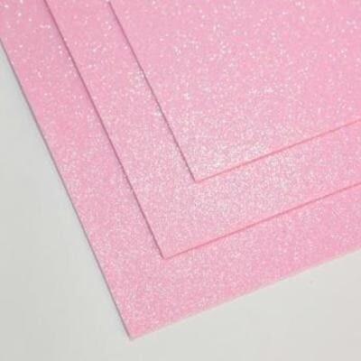 Фоамиран глиттерный 60х70 см толщина 1,5 мм МЕРЦАЮЩИЙ (Холодный розовый)
